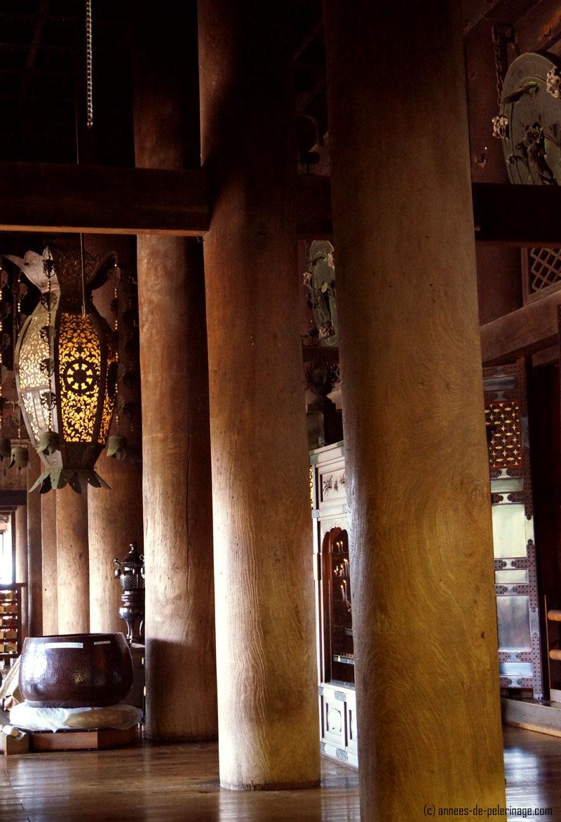 The gigantic cedar boles inside the main hall of kiyomizu-dera in Kyoto