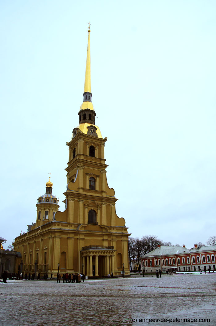 The golden spire of peter and paul cathedral in peter and paul fortress