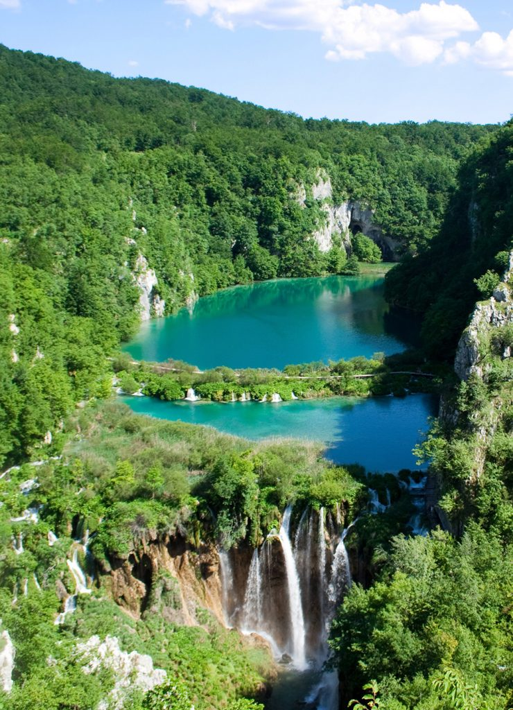 Lakes and waterfalls in Plitvice Lakes National Park, Croatia
