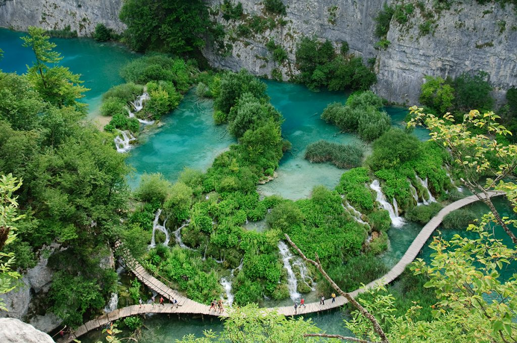 Bridge leading over the water falls in Plitvice Lakes National Park