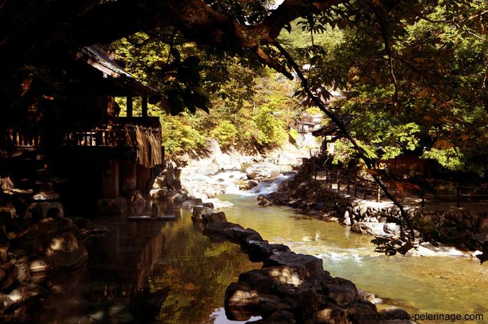 the outdoor pools (rotenburo) at Takaragawa-onsen near Minakami, Japan