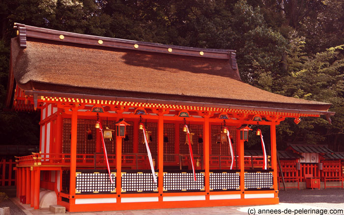 A prayer hall on the grounds of fushimi inari taisha shrine in Kyoto, Japan
