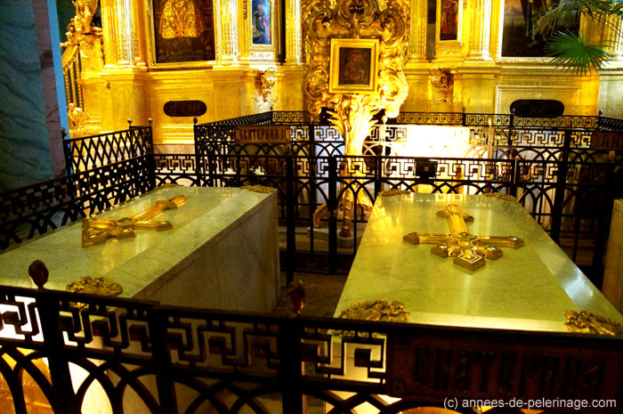 The marble sacrophari of the romanov czars in peter and paul cathedral
