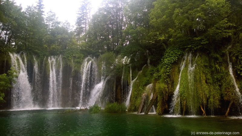 sweeping green waterfall in Plitvice Lakes National Park Croatia