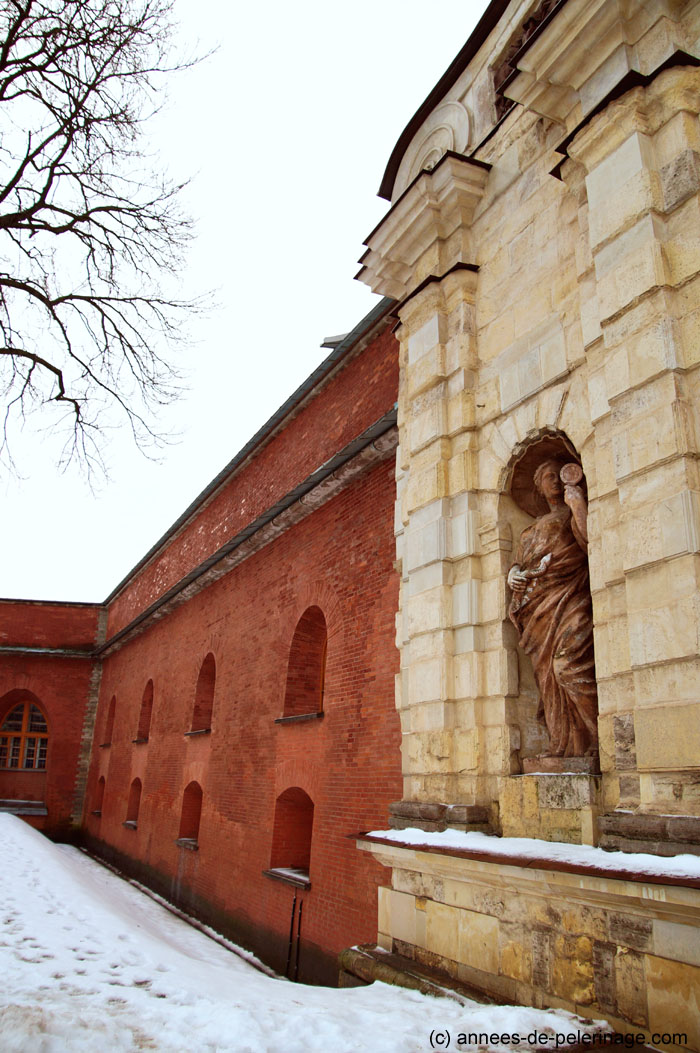 The red brick wall along the east gate of Peter and Paul Fortress