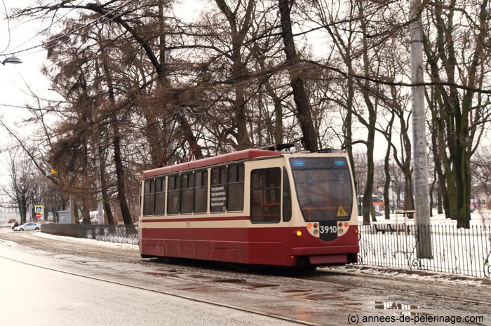 Tram train no. 6 going to Peter and Paul Fortress in St. Petersburg