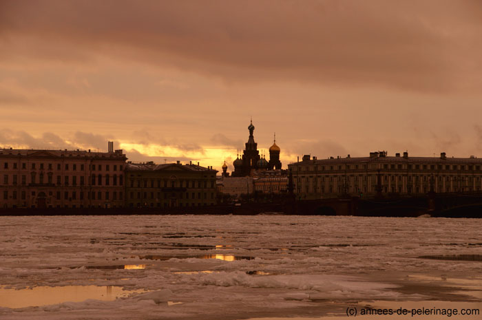 Sunset on the battlements of Peter and Paul Fortress in St. Petersburg