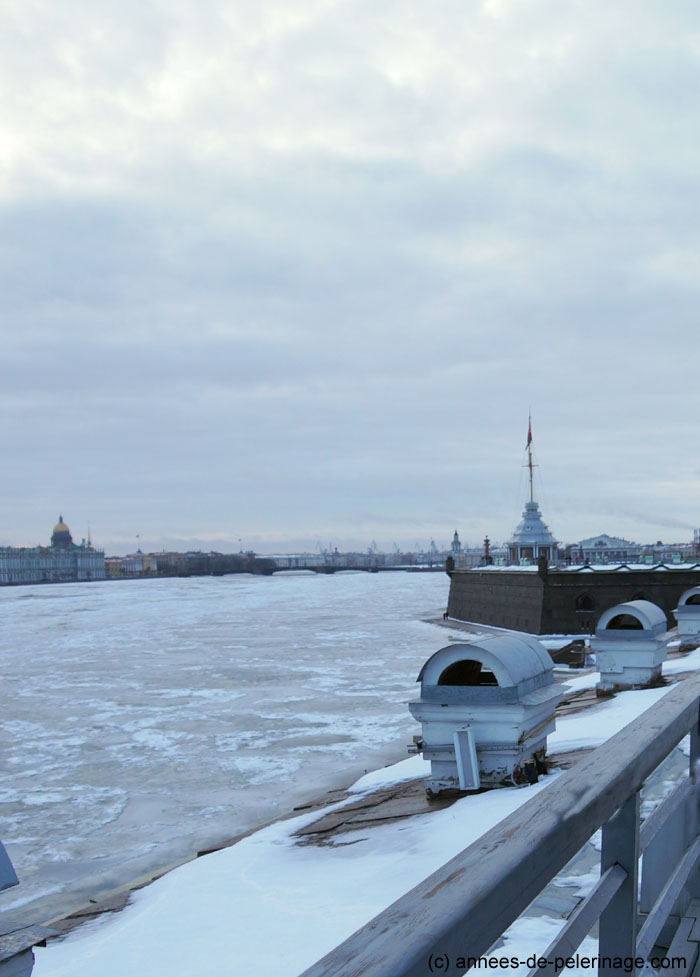 The view across the Newa from the battlements of Peter and Paul Fortress in St. Petersburg