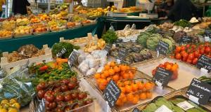 A vegetable vendor on the Viktualienmarkt - Munich's famous gourmet food market