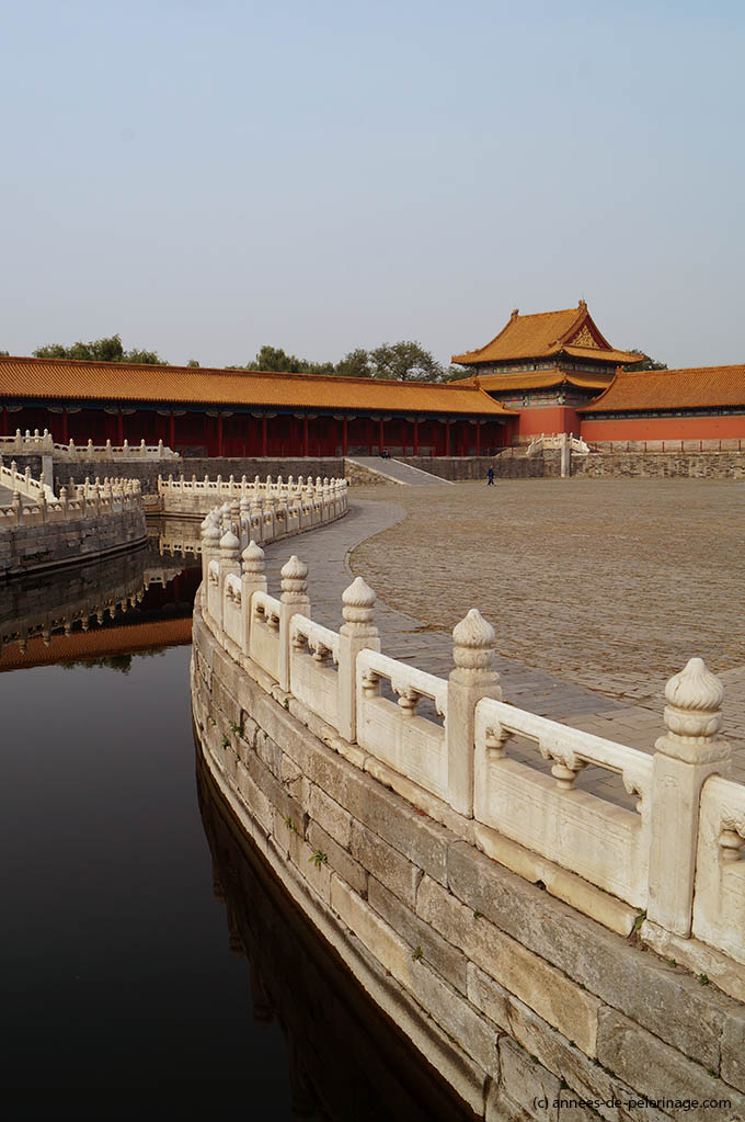The Inner Golden Water River in the courtyard of the Gate of Supreme Harmony in the Forbidden City in Beijing