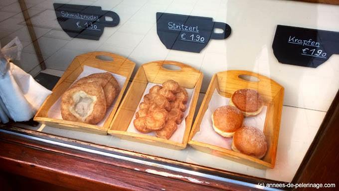 Deep fried dough food at cafe frischhut, viktualienmarkt munich