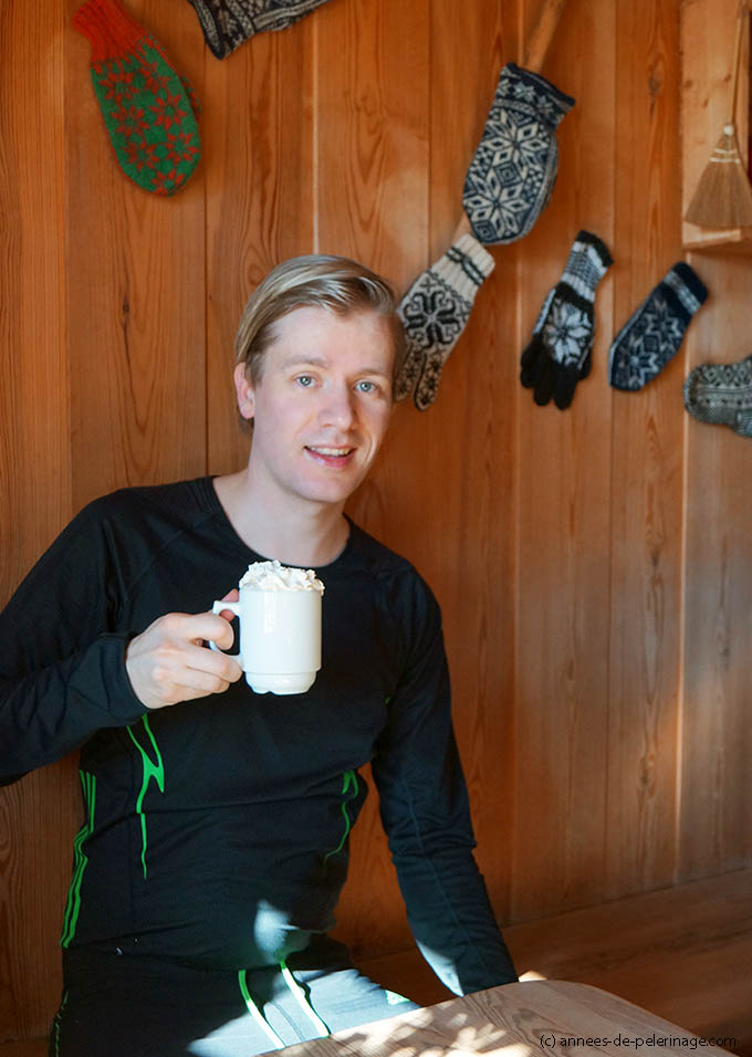 drinking hot chocolate in a skiing hut at Oslo Winterpark