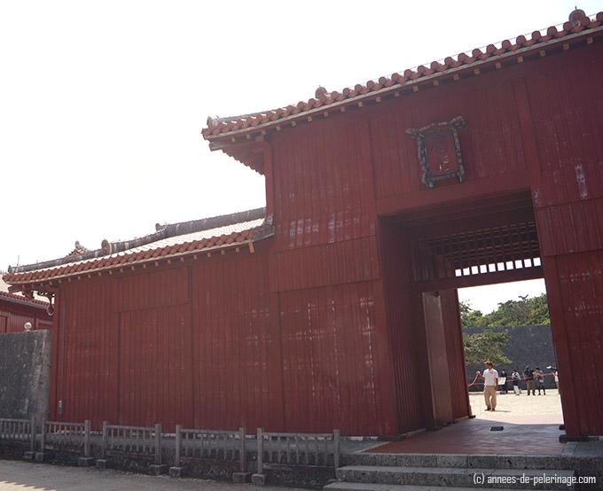 Wodden entrance gate to inner courtyard of Shuri Castle, Okinawa