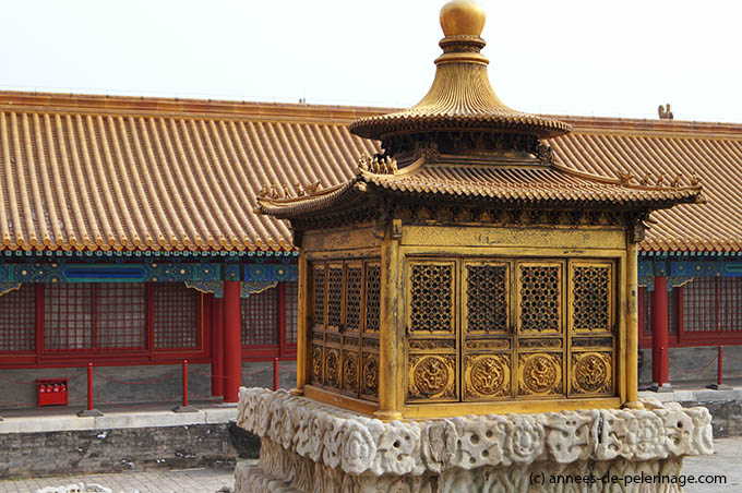 A golden shrine flanking the Hall of Heavenly Purity in the Forbidden City in Beijing