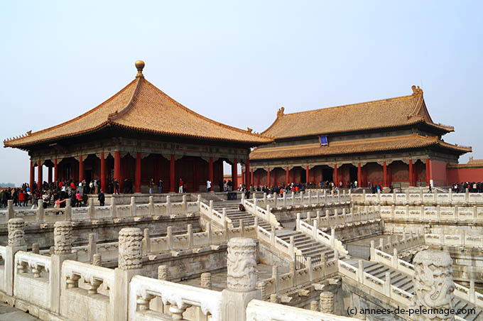 The hall of central harmony and the hall of preserving harmony in the Forbidden City in Beijing