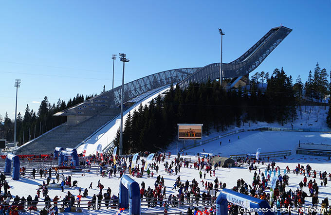 The holmenkollen ski-jump in oslo and its sport arena in winter