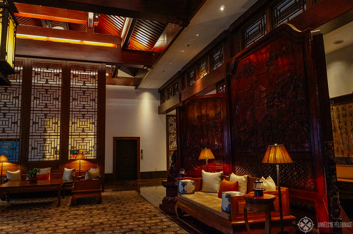 Inside the lobby of aman at summer palace Beijing, China