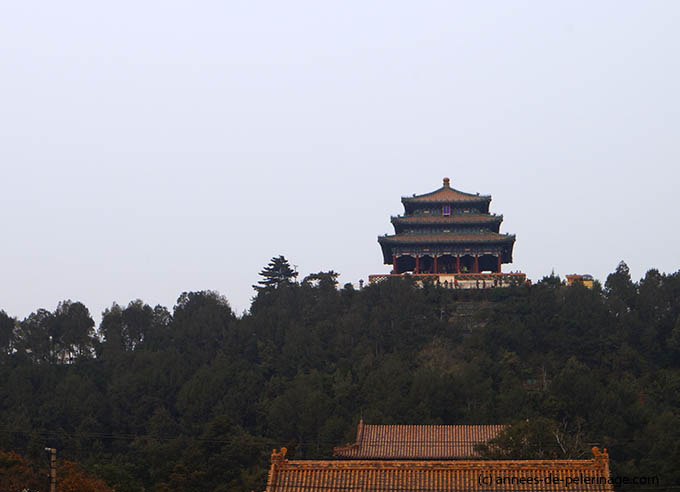 The Jingshan hill at the northern end of the Forbidden City in Beijing