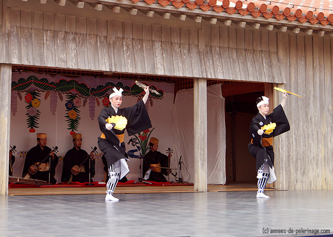 Traditional okinawan dancers performing during Shuri Castle Festival