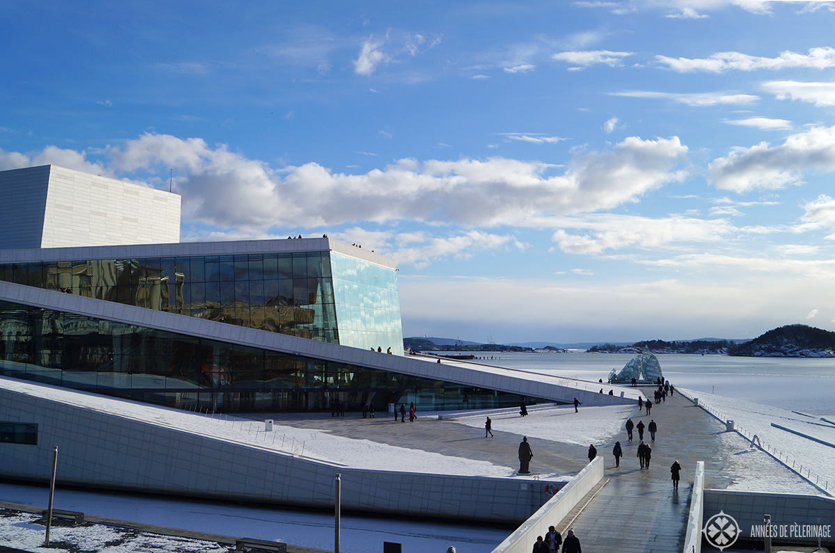 The modern Opera house in Oslo's harbor