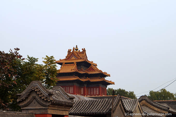The east gatehouse tower of the forbidden city beijing