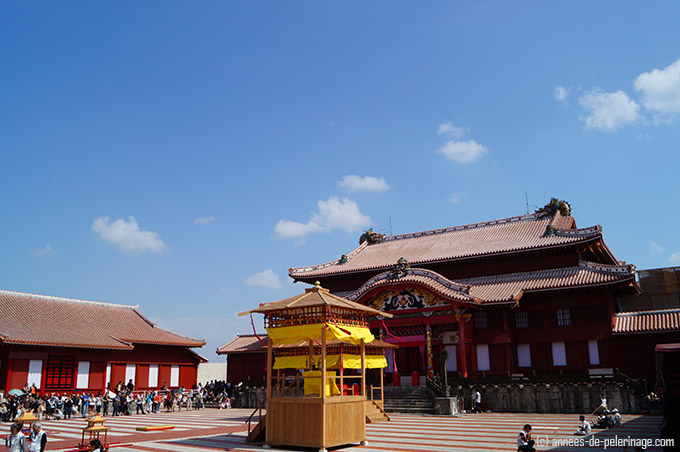 shuri castle in bright sunlight. Once the seat of the Ryukyu Kings in Naha, Okinawa