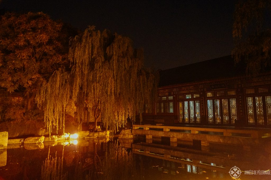 The tea pavilion of Aman at Summer Palace Beijing at night