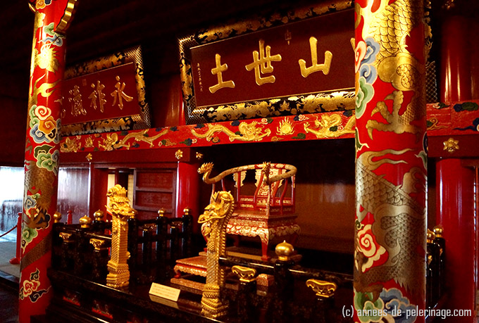 The golden throne of the ryukuyu kings at shuri castle okinawa