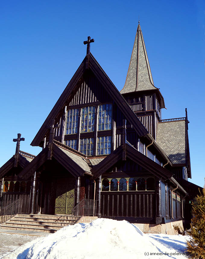 The wooden holmenkollen Chapel close to the famous ski-jump in Oslo