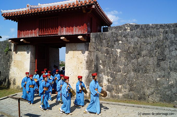 Girls in blue silk kimono at the Shuri Castle Festival