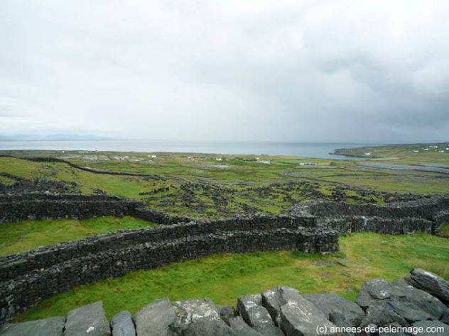 view from the prehistoric Dún Aonghasa across the barren landscape