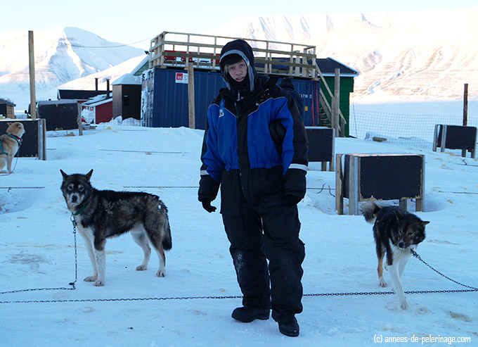 The warm clothing needed to wear for dog sledding in spitsbergen, svalbard