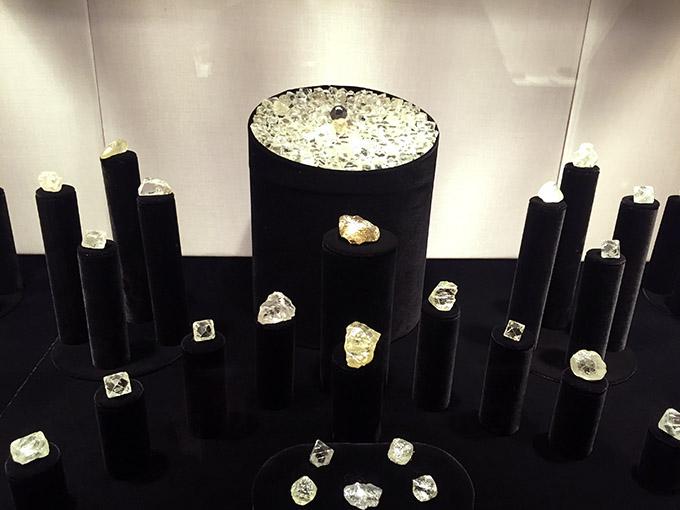 Uncut diamons on display in the diamond fund in kremlin armoury museum