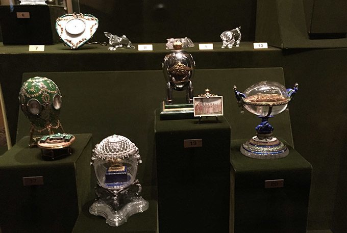 Four (out of 10) fabergé eggs at kremlin armoury moscow