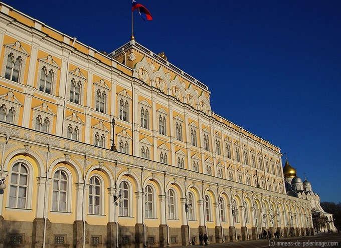 The Grand Kremlin palace inside the red walls where president Putin lives and works