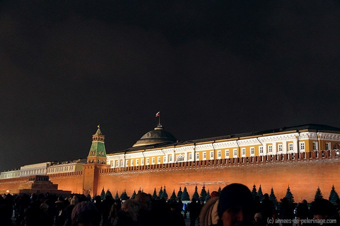 The kremlin senate seen from the red square at night