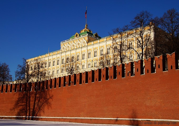 The Kremlin in Moscow - with the Grand Kremlin Palace behind the iconic red brick wall
