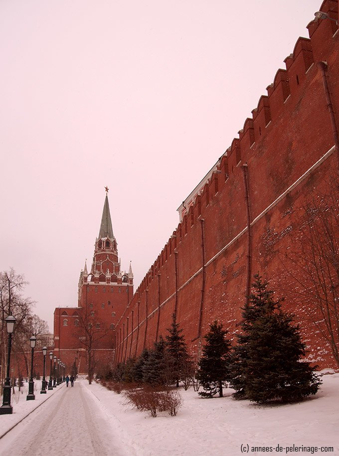 Trinity tower and the wall of the kremlin leading to the main entrance for tourists