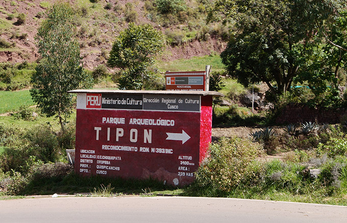 the entrance sign of tipon, peru, near cusco