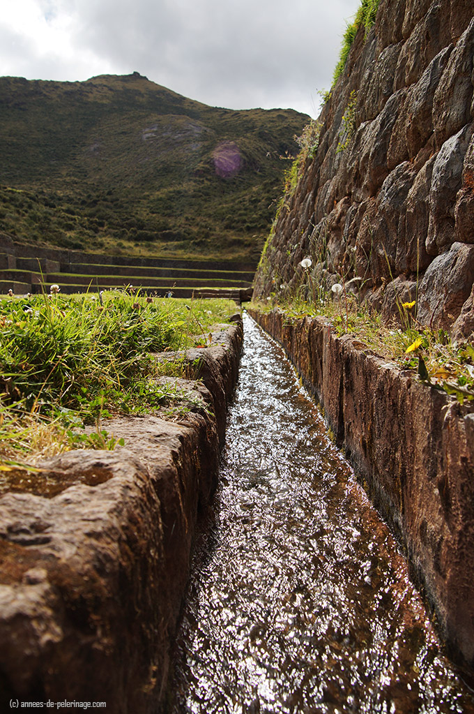 the inca water channel network crisscrossing the terraces