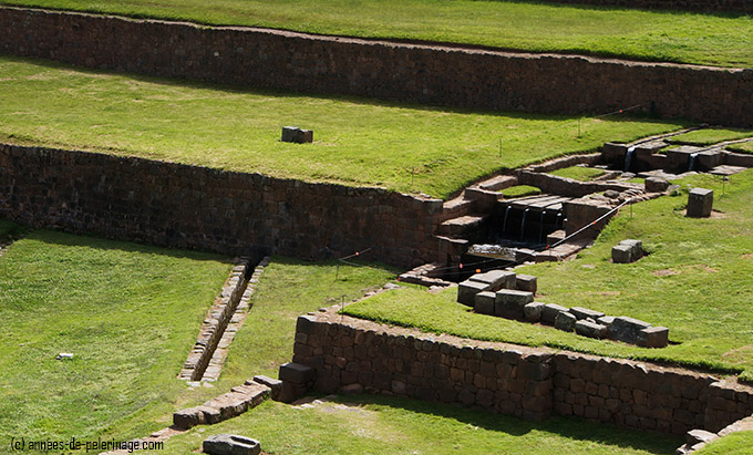 The main water temple at the top of the tipon inca terraces and its water channels