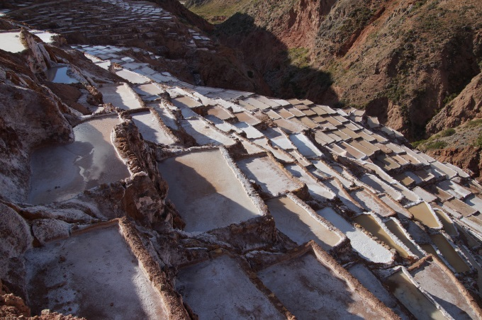 The terraces of the Maras salineras in Peru