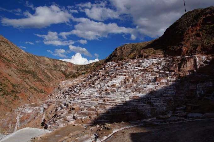 Maras salt ponds seen from afar and from below