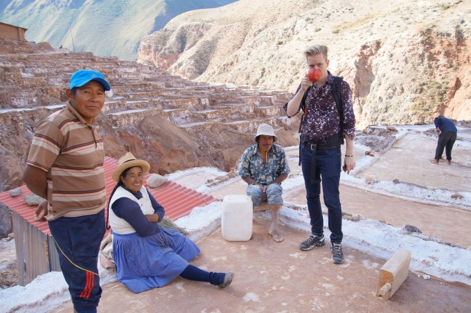 Me drinking maize beer in the Maras salt ponds