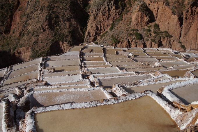 Salt evaporaton ponds in the Maras salineras