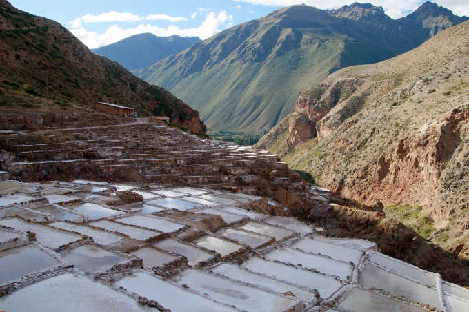 VIew on the maras salt evaporation ponds