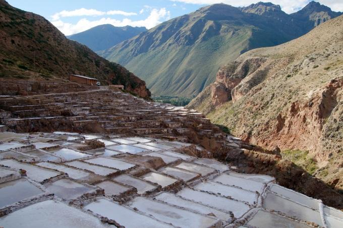 VIew on the maras salt evaporation ponds