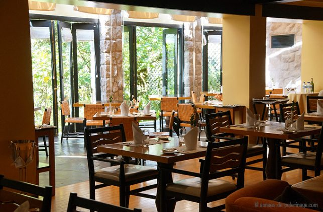 The a la carte restaurant in macchu picchu decked for lunch at the belmond sanctuary lodge