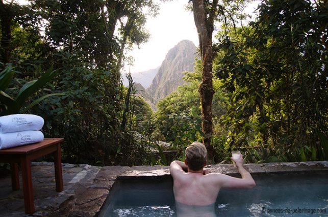 The hot tub (jacuzzi) with a view on machu and wayna picchu at Belmond Sanctuary lodge Machu Picchu