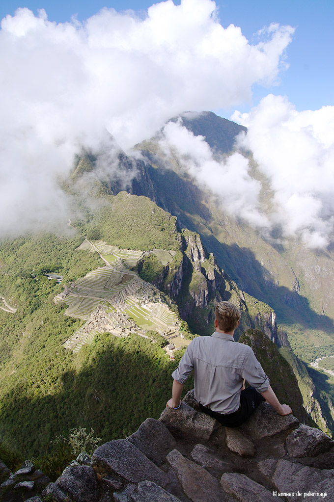 Sitting on a platform near the summit of wayna picchu - certainly the top travel highlight in 2015 for me